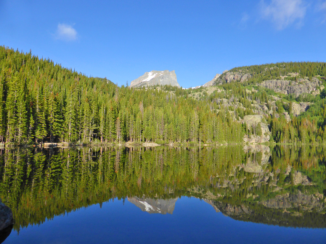 Hallet Peak towers over Bear Lake in Rocky Mountain National Park
