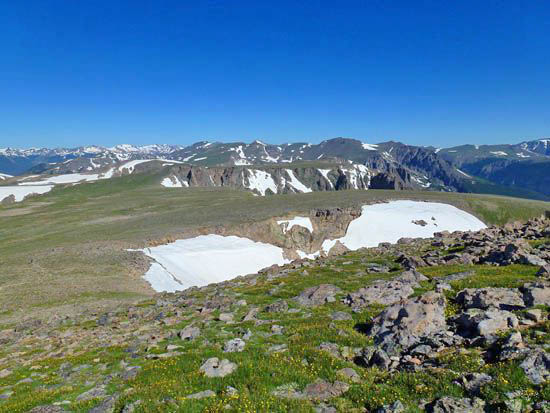 Looking north across the top of Tyndall Glacier and Flattop Mountain